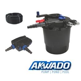 AKWADO Druckfilter-Set CPF-20000 inkl. 36 W UVC Klärer und Teichpumpe 8000 l/h für Teich Koi usw. -