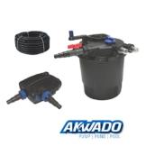 AKWADO Druckfilter-Set CPF-5000 inkl. 11 W UVC Klärer und Teichpumpe 5000 l/h für Teich Koi usw. -