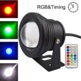 COOLWEST RGB LED Unterwasserscheinwerfer Dekorative Garten Schwimmbad Teich Licht/Nacht Schalt,230V / 10W,mit Wireless IR Fernbedienung - 1