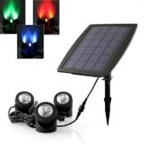 DECKEY 18LEDs 3x RGB Unterwasserleuchte Solarleuchte Solarlampe Teichleuchte Garten IP68 Wasserdicht - 1