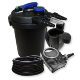 Druckfilter Set aus 10000l Filter, UVC Klärer mit 11W, 70W Pumpe, 25m Schlauch und Skimmer -