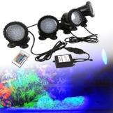 GreenSun LED Lighting Spot Lampe Unterwasser RGB Aquarium Beleuchtung Aufsatz leuchte Aquariumlampe 36LEDs Strahler Teichlampe Teichstrahler Teichlampen Dekorative für Fisch Tank Aquarium 4 Stücke in 1 Set - 1