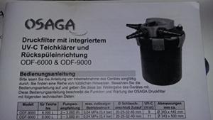 Teichfilter OSAGA Druckfilter ODF-6000 mit 9 Watt UVC Lampe mit Rückspüleinrichtung -