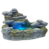 STILISTA® Mystischer Steinoptik Gartenbrunnen OLYMP, 100x80x60, inkl. Pumpe, Beleuchtung rot blau gelb grün - 1