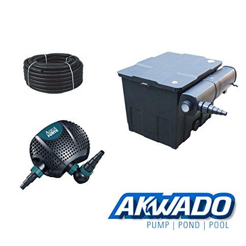 Teichfilter – Akwado – CBF 350 + 24 W UVC Klärer + Teichpumpe Aquaforte O-Plus 5000 + Schlauch -